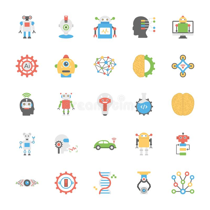Pack of Artificial Intelligence In Flat Design royalty free illustration