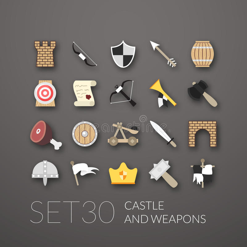 Flat icons set 30 vector illustration