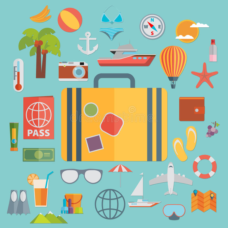 Flat icons set with long shadow effect of traveling on airplane, planning a summer vacation, tourism and journey objects and pass royalty free illustration
