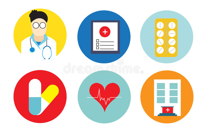 Flat icons set of medical tools and health. Care equipment treatment service. Modern design style collection. Pharmacy symbol sign illustration on white vector illustration