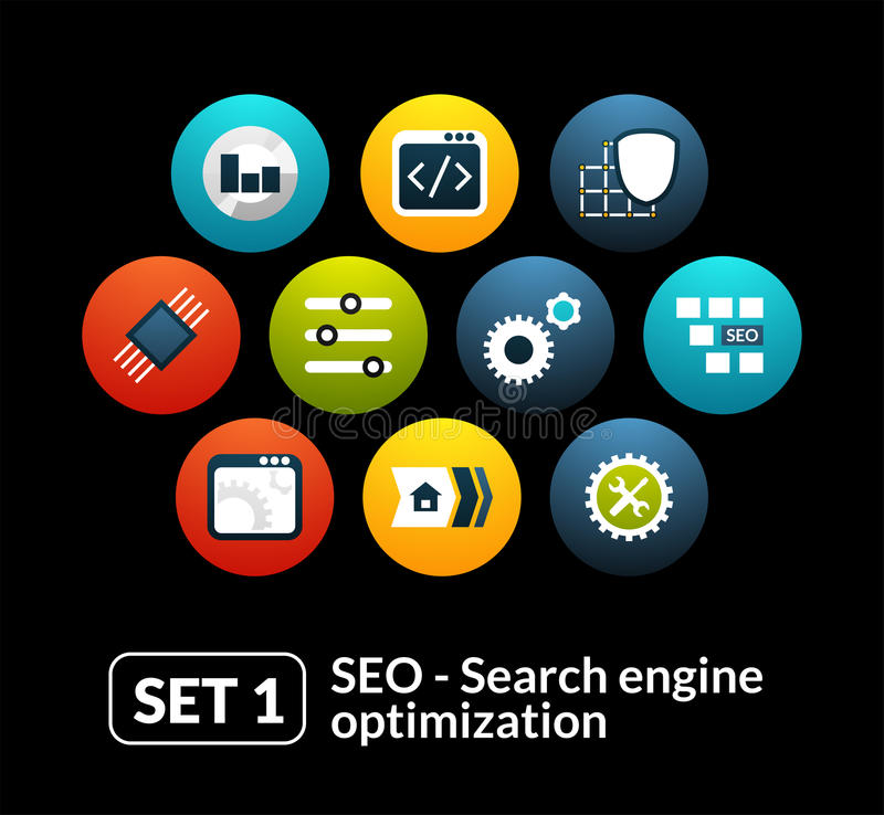 Flat icons set 1 - SEO and Development collection. For phone watch or tablet vector illustration