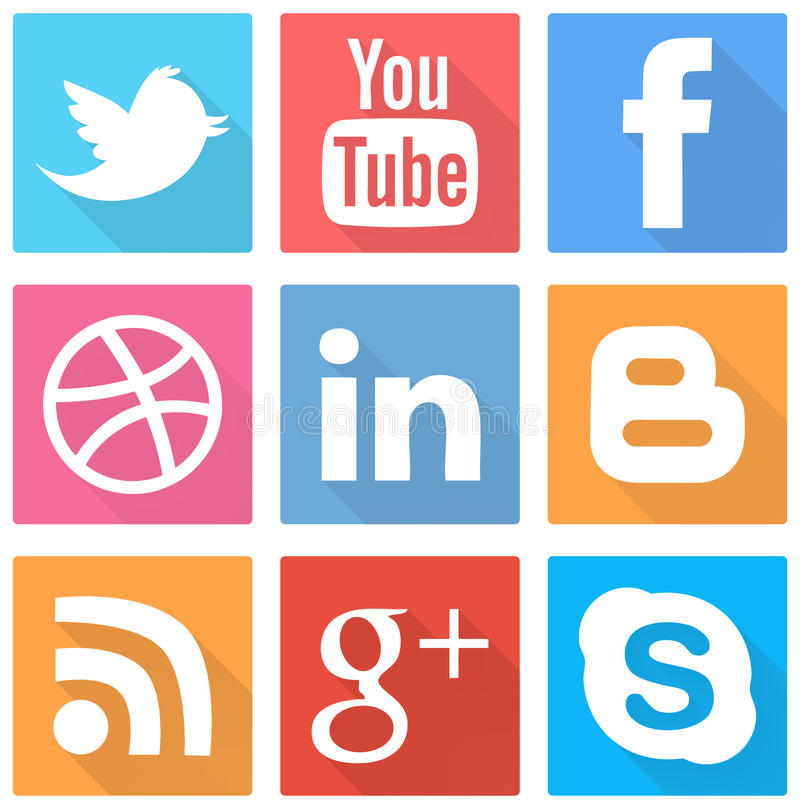 Flat icons Social set stock illustration
