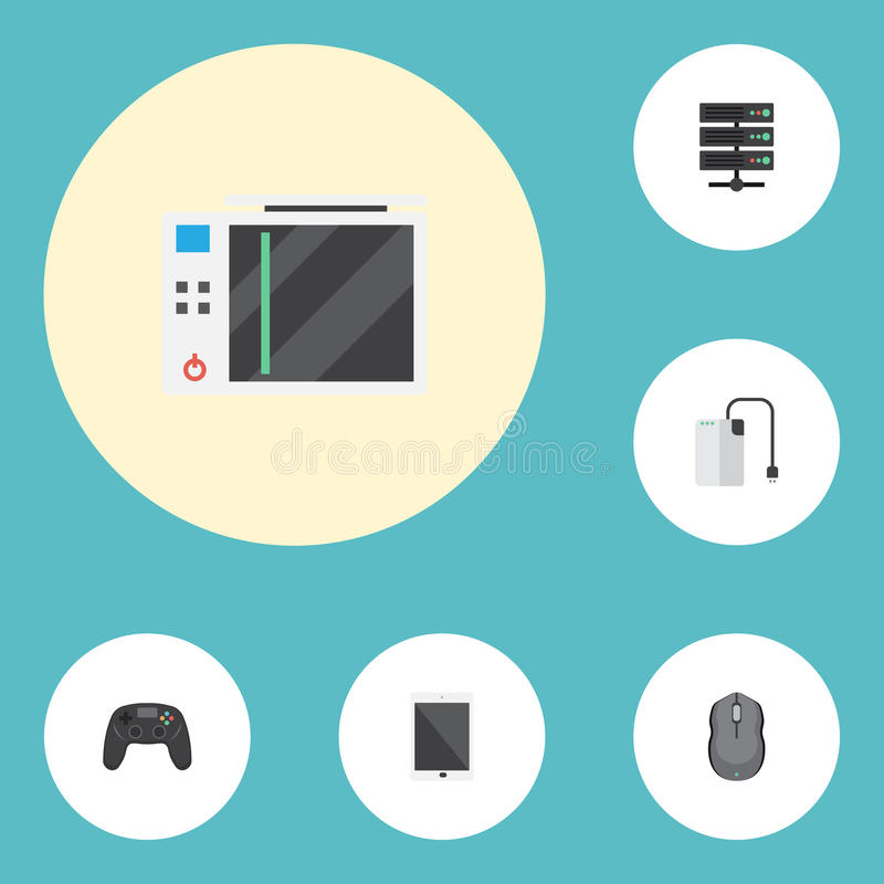 Flat Icons Storage Device. Slot Machine, Computer Mouse And Other Vector Elements royalty free illustration