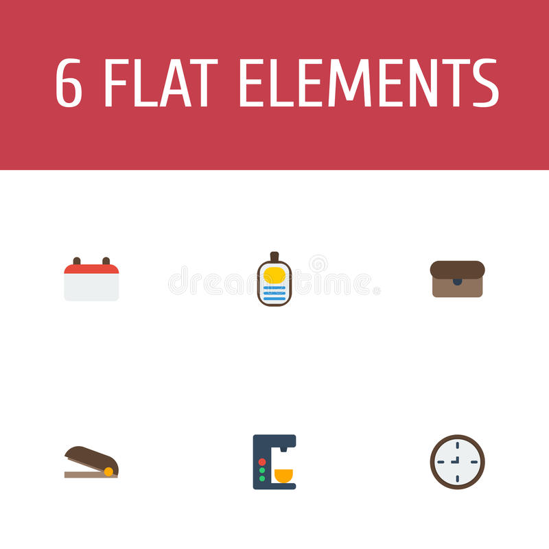 Flat Icons Suitcase, Identification, Espresso Machine And Other Vector Elements. Set Of Office Flat Icons Symbols Also. Flat Icons Suitcase, Identification royalty free illustration