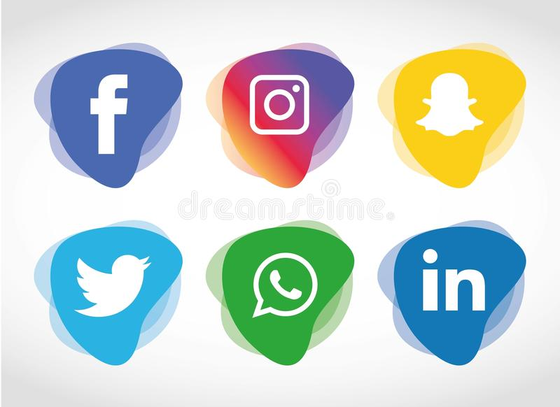 Flat icons technology, social media, network, computer concept. Abstract background with objects group of elements. star smiley f. Flat icons technology With stock illustration