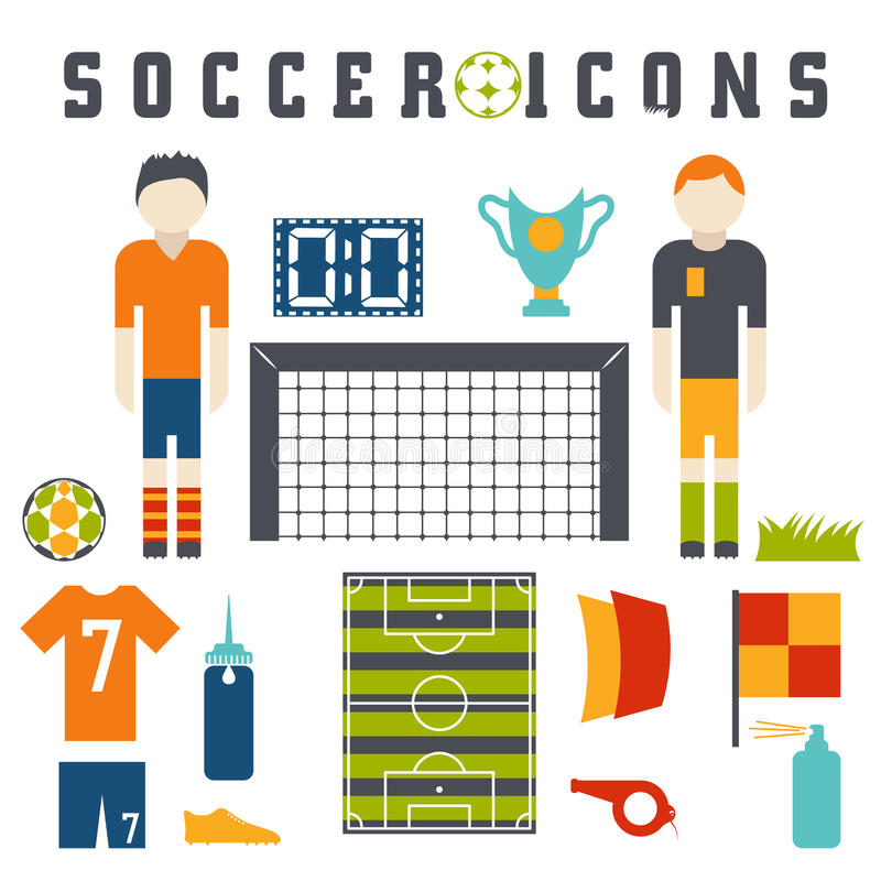 Flat icons on the theme of football. Vector collection of flat icons on the theme of football royalty free illustration