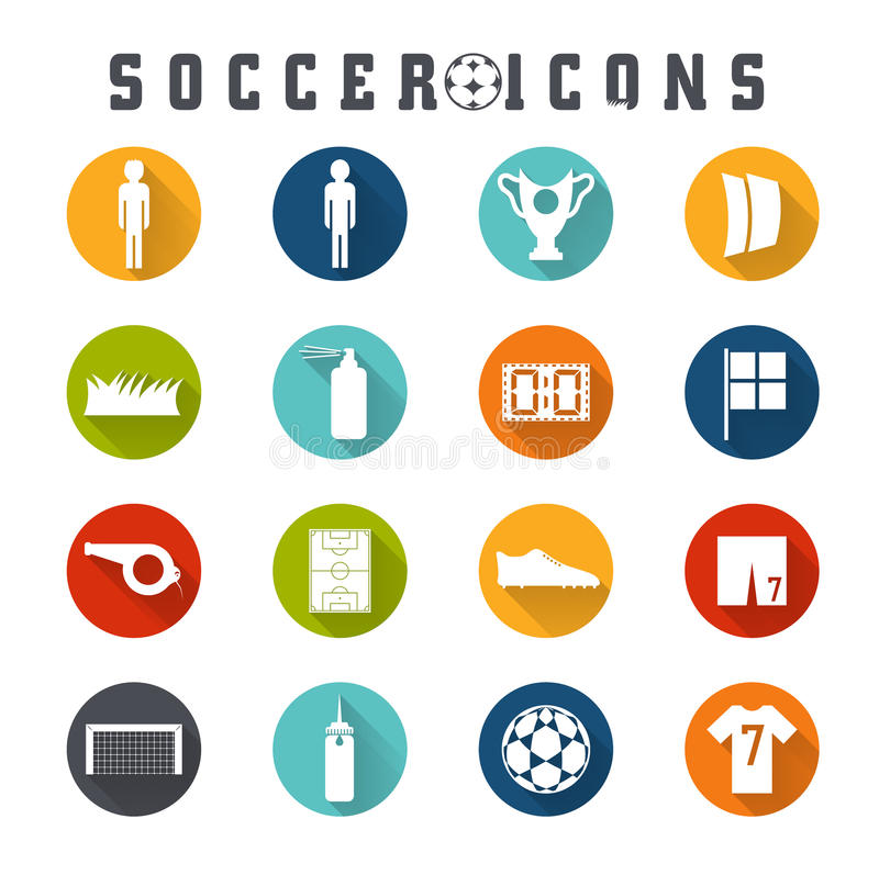 Flat icons on the theme of football. Vector collection of flat icons on the theme of football stock illustration