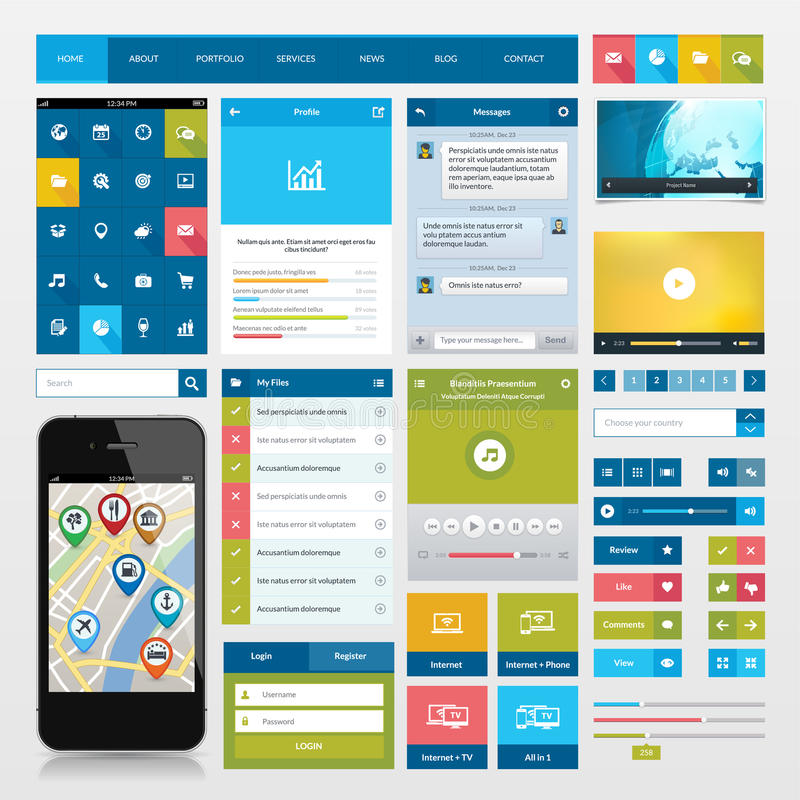 Download Flat Icons And Ui Web Elements For Mobile App And Stock Images - Image: 33849914