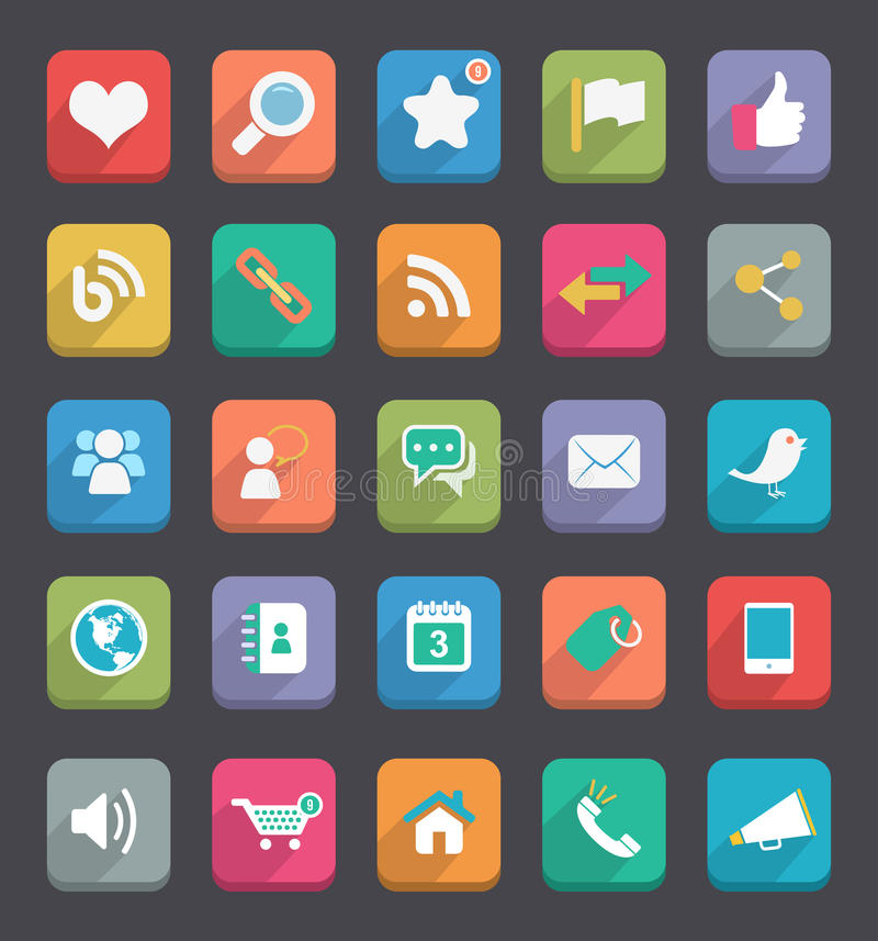 Flat Icons. Vector flat icons for Web & Mobile App royalty free illustration