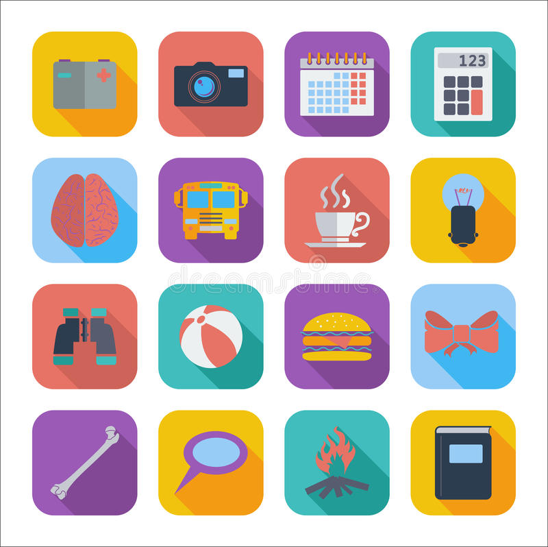 Flat Icons For Web Design Stock Vector