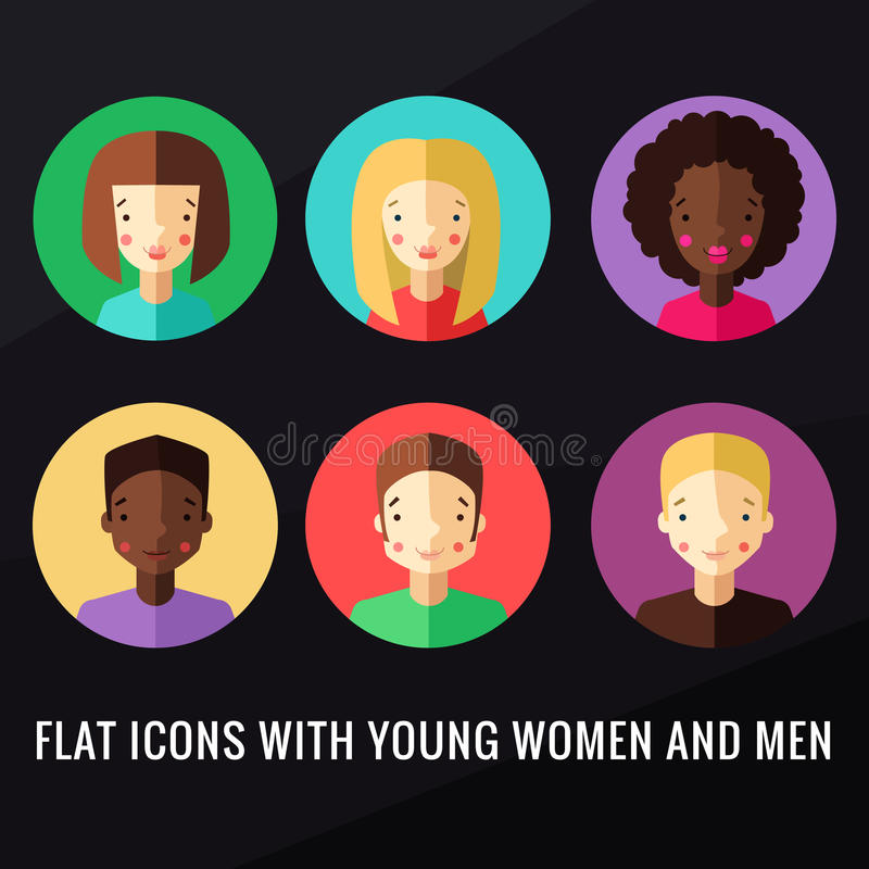 Flat icons with young women and men vector set. Flat multicolored icons with young women and men vector set royalty free illustration