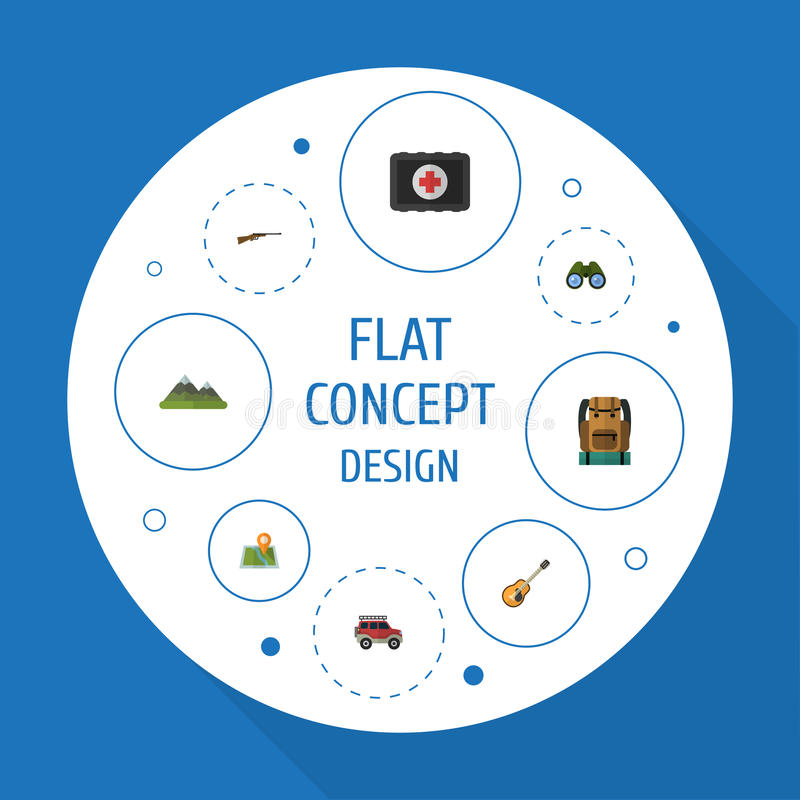Flat Icons Zoom, Weapon, Location And Other Vector Elements. Set Of Camping Flat Icons Symbols Also Includes Mount, Map royalty free illustration
