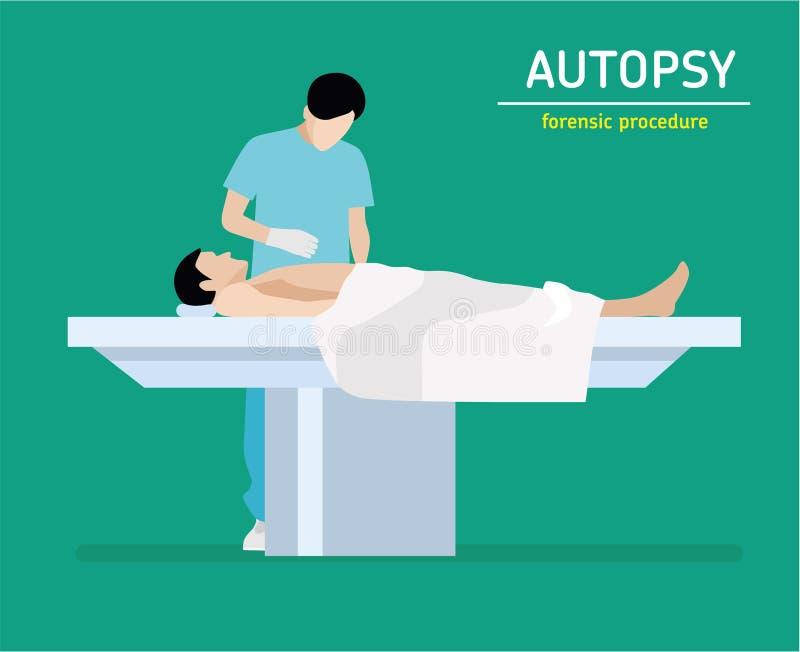 Flat illustration. Autopsy. Forensic procedure. Autopsy. Forensic procedure. The coroner examines a murder victim royalty free illustration