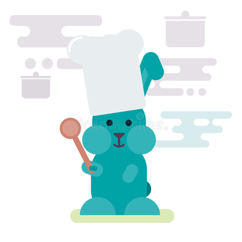 Flat illustration of bunny chef with wooden spoon. stock illustration