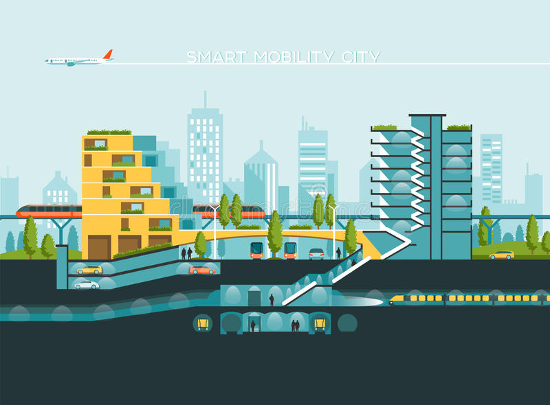 Flat illustration with city landscape. Transport mobility and smart city. Traffic info graphics design elements. Flat illustration with city landscape stock illustration
