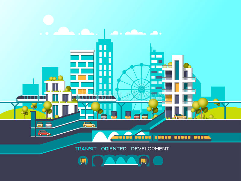 Flat illustration with city landscape. Transport mobility and smart city. Traffic info graphics design elements with transport, including bus, metro, train stock illustration