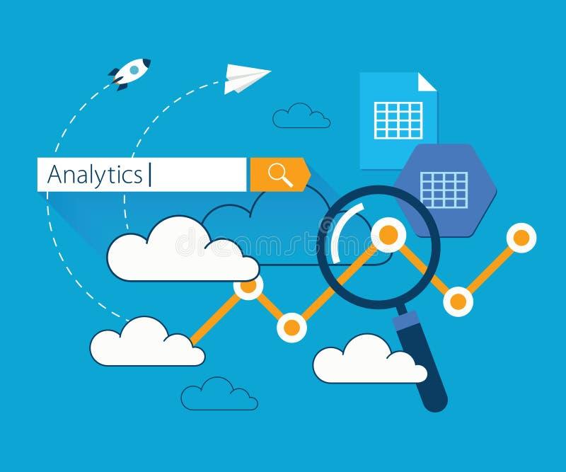 Flat illustration clouds data analytics vector illustration