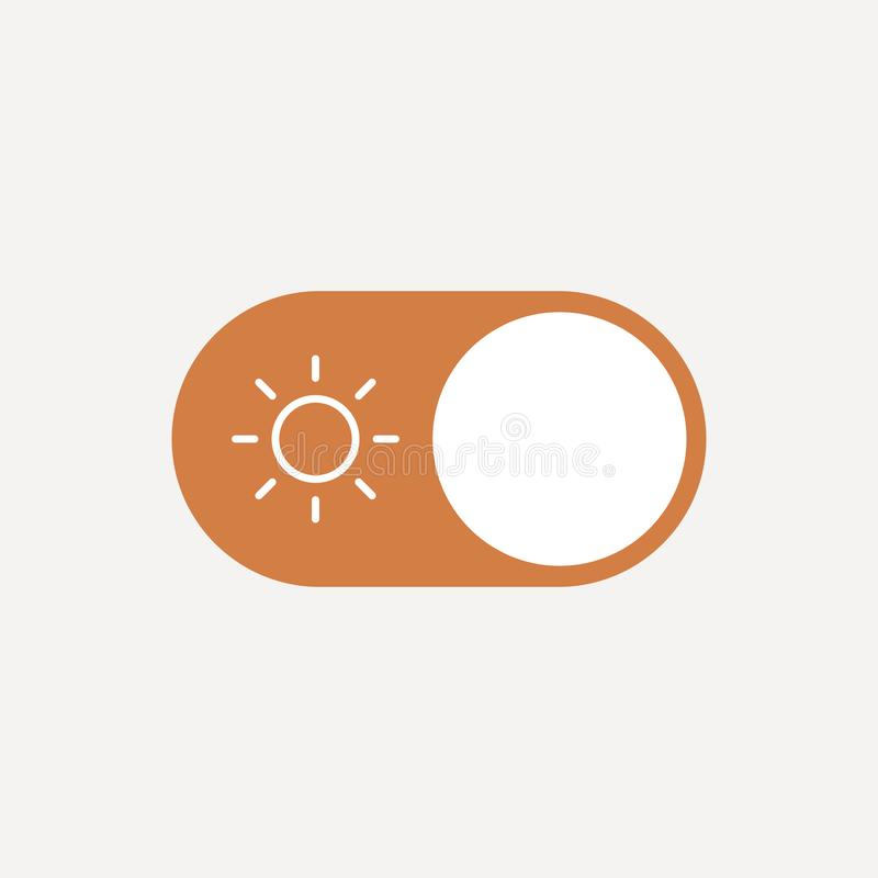 Flat illustration concept of user Interface element - On Off switcher, Day and Night, Sun and Moon. Isolated vector for royalty free illustration