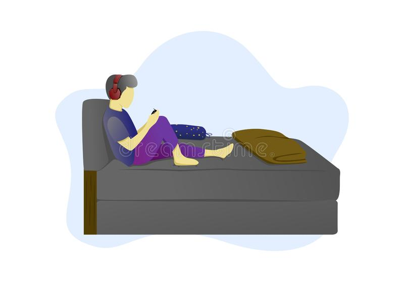 Flat illustration of playing a game using a smartphone in the room vector illustration