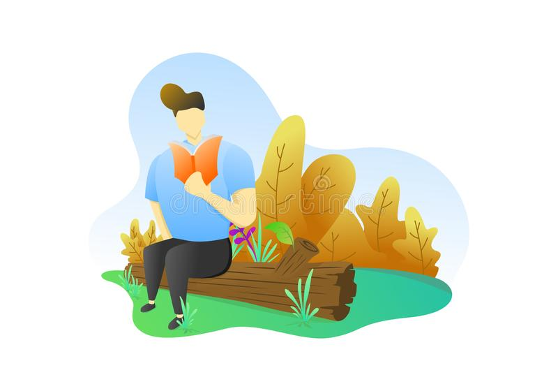 Flat illustration, flat character design and background royalty free stock photography