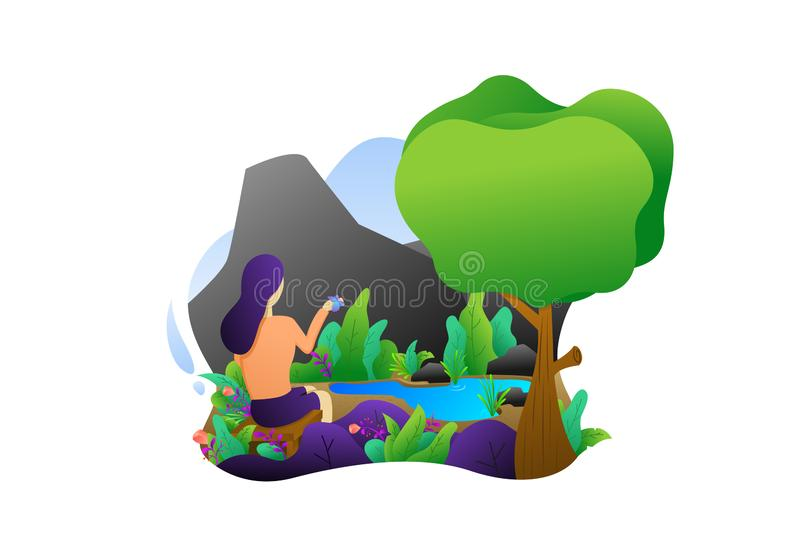 Flat illustration, flat character design and background stock image