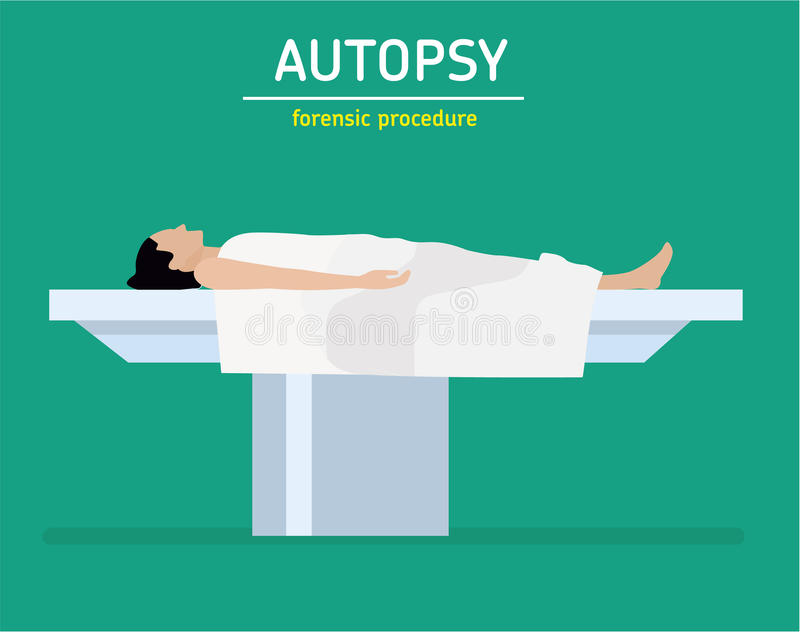 Flat illustration. Forensic procedure. The autopsy. The woman is a murder victim. The woman is a murder victim lies on a table at the coroner`s. The autopsy of vector illustration