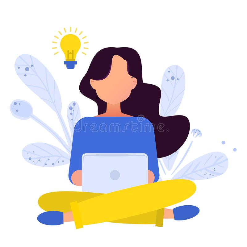Flat illustration. Girl working with laptop in social networks. vector illustration