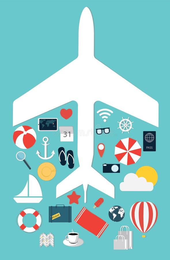 Flat illustration icons set traveling on airplane. Vector illustration vector illustration