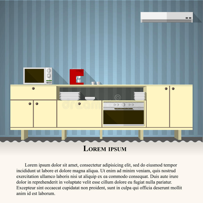Download Flat Illustration Of Kitchen With Blue Wall Stock Vector - Image: 43290230