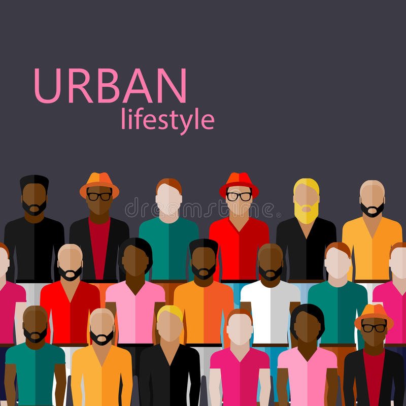 Flat illustration of male community with a large group of guys and men. Vector flat illustration of male community with a large group of guys and men. urban royalty free illustration