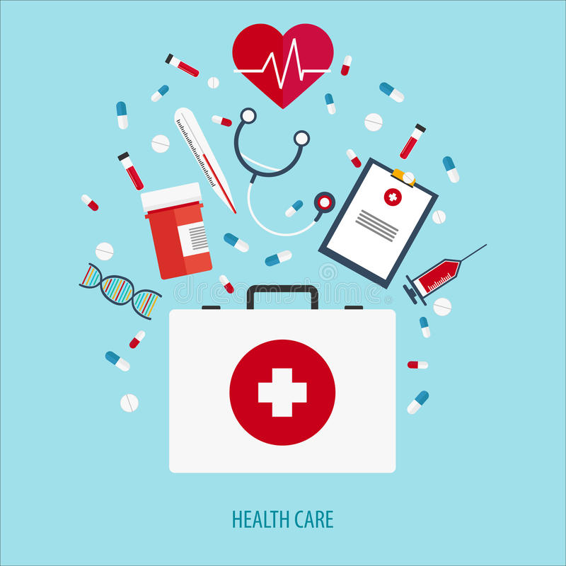 Flat illustration. Medical help. First aid. Online doctor. Heart care. Pharmacy, medicaments and vaccines. Healthcare. royalty free illustration
