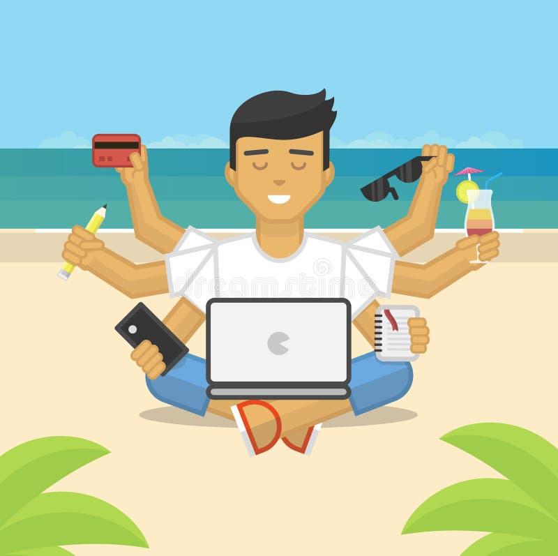 Flat illustration of meditating freelancer working on beach vector illustration