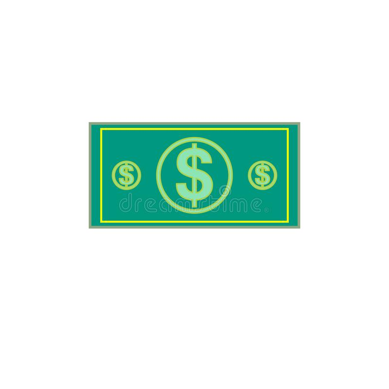 Flat illustration of money. Dollar currency banknote green. Dollars bill, money banknote. Vector dollar bill isolated on white bac vector illustration