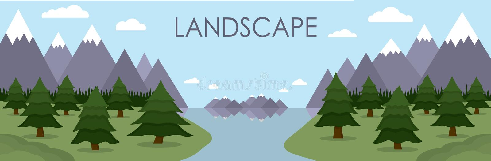 Flat illustration of mountain landscape reflected in lake surrounded by pine tree forest. stock illustration