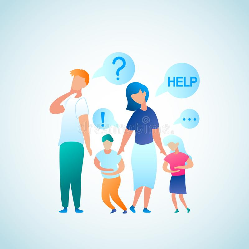Flat Illustration Parent Appeal for Help Doctor. Vector Image Man and Woman Think who to Contact with Problem Abdominal Pain in Child. Little Boy and Girl Hold vector illustration