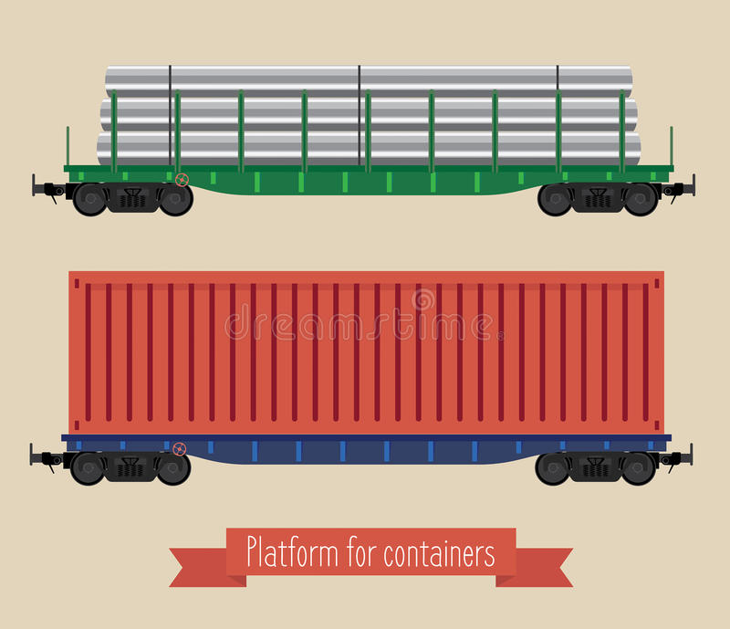 The flat illustration railcars royalty free illustration