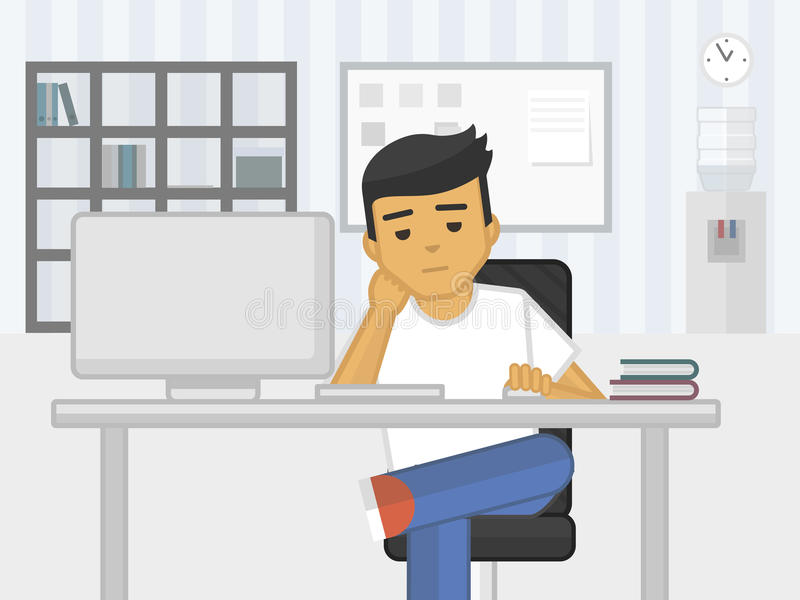 Flat illustration of sadness fatigue office worker, vector. Illustration stock illustration