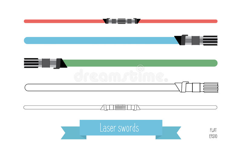 The flat illustration swords stock illustration