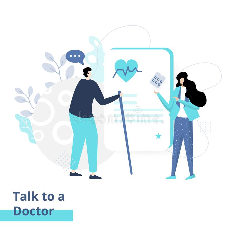 Flat illustration of Talk to a Doctor, the concept of men being consulted about diseases to women doctors, fit to place on landing vector illustration