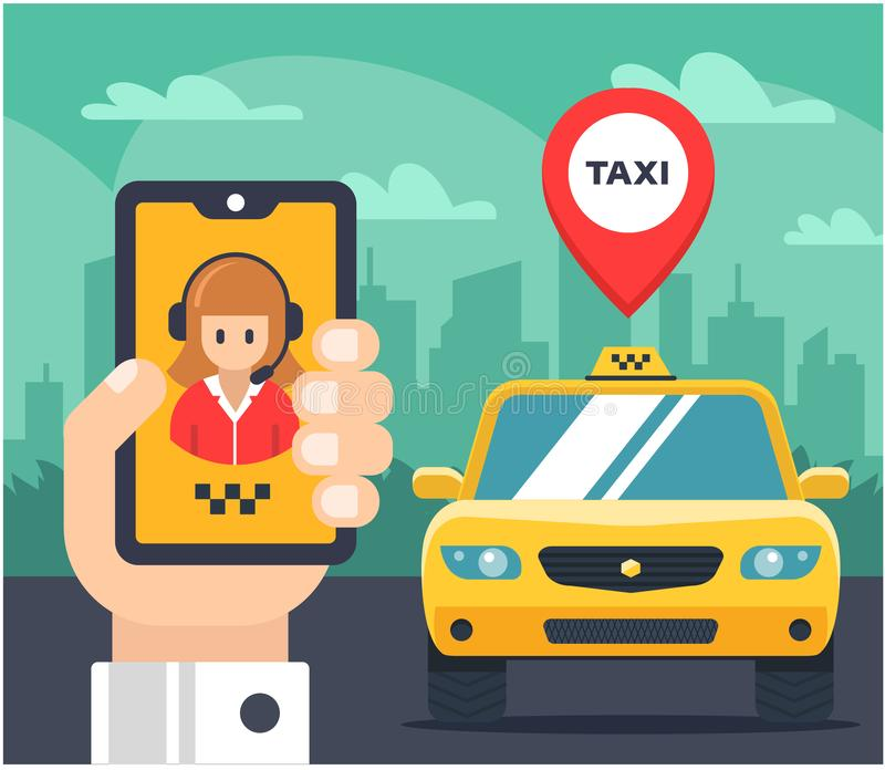 Flat illustration of a taxi order. car tagged. royalty free illustration