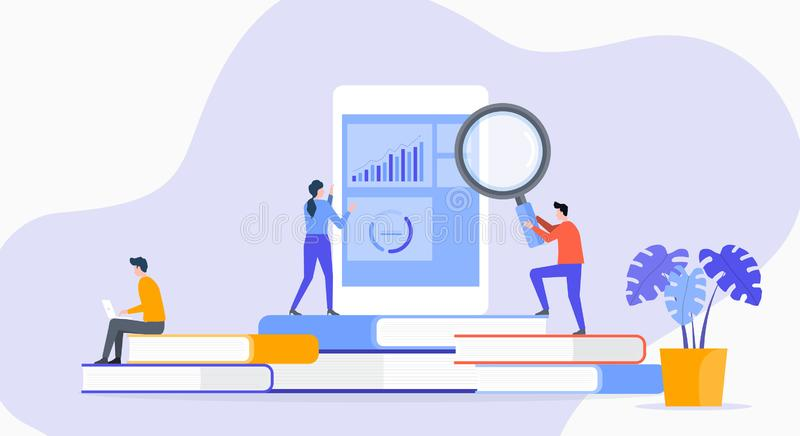 Flat illustration technology business application research with people business analyze team. Working concept vector illustration