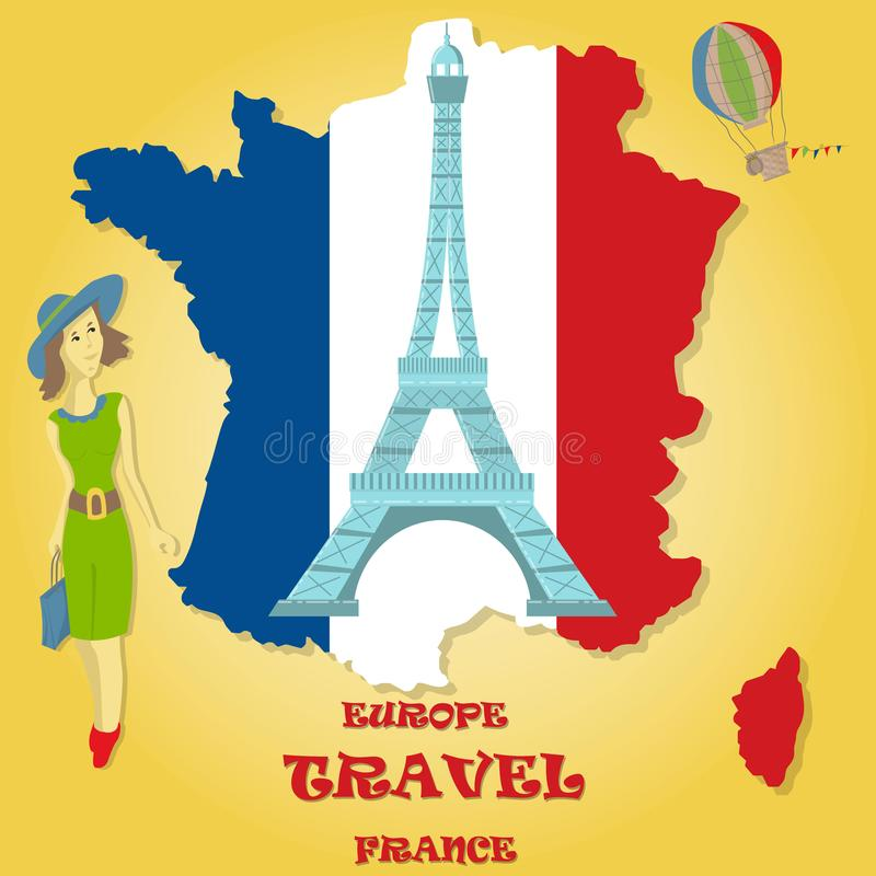 flat illustration travel to Europe France, symbols and attractions, girl with a bag in her hands looking at the map royalty free illustration