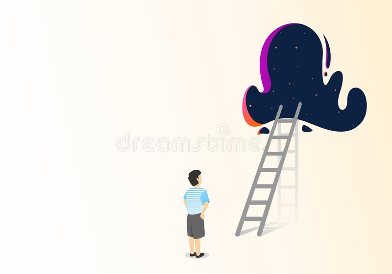flat illustration trying to start to reach the dream royalty free illustration