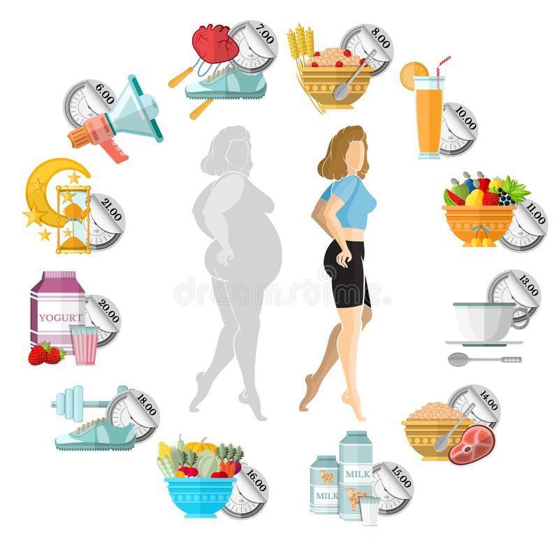 Flat illustration weight loss. Slender and fat girl in the middle of clock face with different icons of her routine day on it isol. Ated on white royalty free illustration
