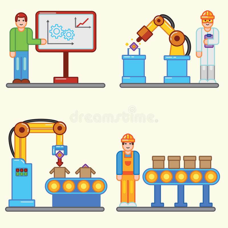 Flat Illustrations Info Graphic Factory Production Process