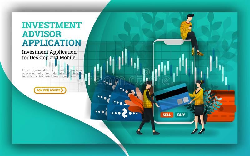 Flat Illustrations of an investment account that provides advisor applications to facilitate investment management and find mutual. Funds companies and suggest stock illustration
