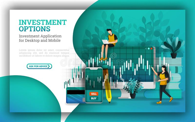 Flat Illustrations for leading mutual fund companies provide options to answer how to invest money. investing for beginners with b. Uy stocks uses strategies vector illustration