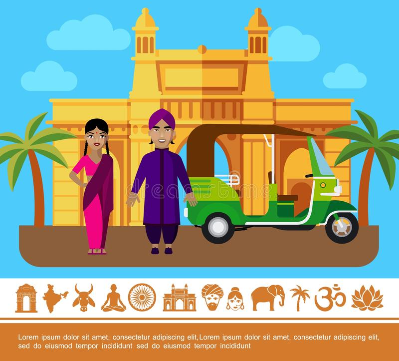 Flat India Travel Colorful Concept. With people in traditional clothes tuk tuk palm trees India Gate and indian icons vector illustration vector illustration