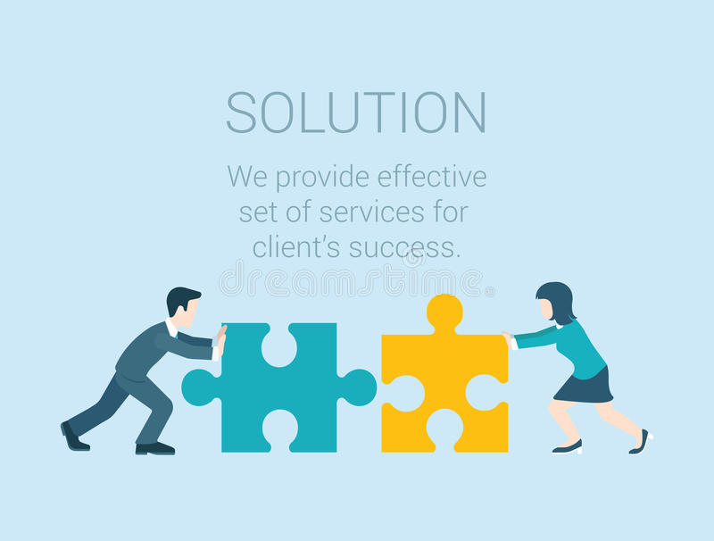 Flat infographic business solution concept connecting puzzle stock illustration