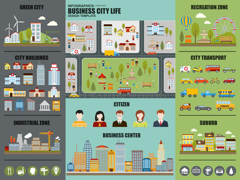 Flat infographic city life vector design stock illustration